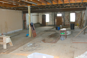 wood flooring before removal