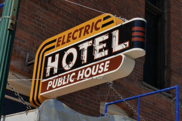 electric hotel sign